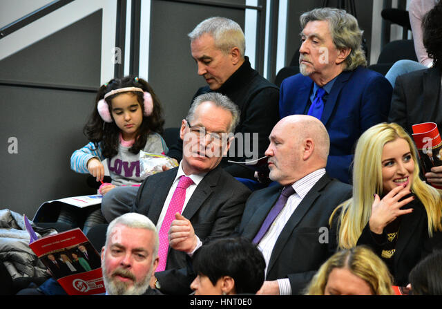 Armagh City, UK. 15th February 2017. Sinn Féins Gerry Kelly and Alex Maskey during the Party launch Manifesto - Stock Image