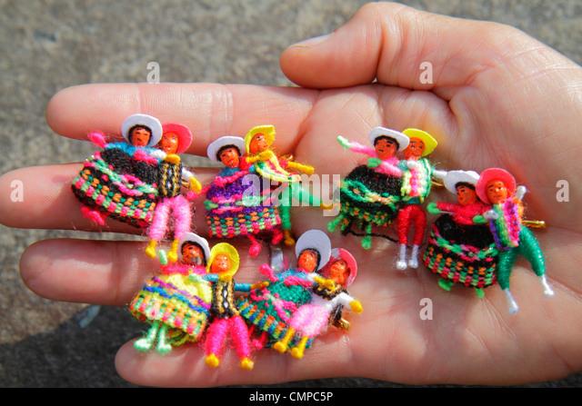 Peru Lima Miraflores Malecon de la Reserva Lancomar shopping center centre ethnic handicraft folk art Arpillera - Stock Image