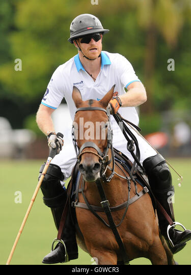 Palm Beach, Florida, USA. 4th May, 2016. Prince Harry plays during the 2016 Sentebale Royal Salute Polo Cup at Valiente - Stock Image
