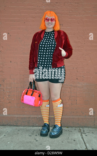 Portrait of a student and fashion designer in the East Village, New York City - Stock-Bilder