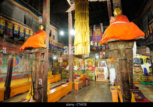 Prayer hall, Monastery of Thikse, Thiksey, Leh, valley of Indus, Ladakh, Jammu and Kashmir, Indien - Stock-Bilder