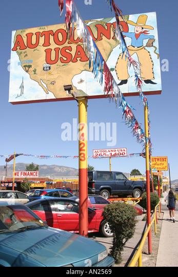 Albuquerque New Mexico Historic Route Central Avenue sign: Autoland USA W - Stock Image