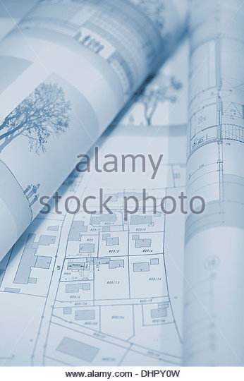 Architectural blueprint drawing floor plan house - Stock Image