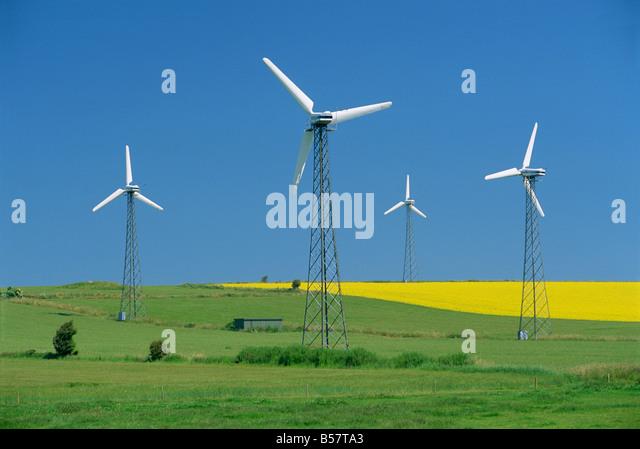Wind generators, near St. Rise, Aero Island, Denmark, Scandinavia, Europe - Stock Image