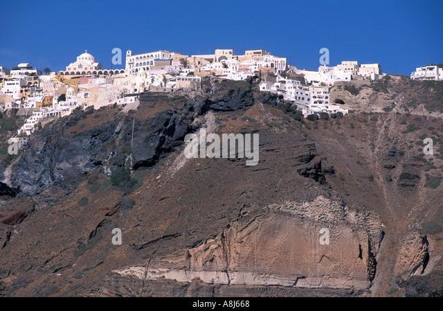 GREECE Santorini Village of Fira on caldera edge - Stock Image
