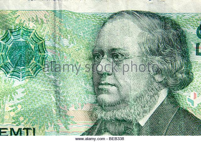 Norwegian currency Kroner, 50 kroner note depicting writer Peter Christen Asbjørnsen - Stock-Bilder