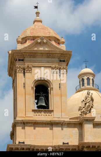 Bell tower of the 18th century Noto Cathedral in Noto, Sicily, Italy - Stock Image