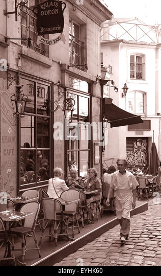 Paris Bistro Relais Odeon Saint Germain des Pres France.restaurant teracce spring french food culture. - Stock Image