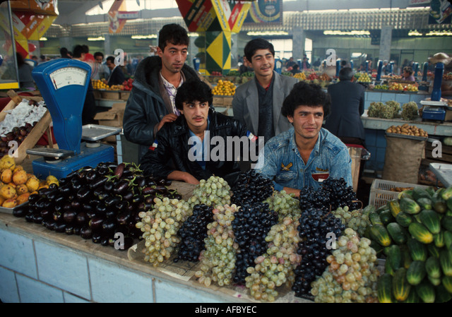 Russia former Soviet Union Moscow covered market produce from Armenia - Stock Image