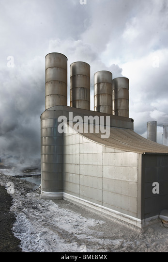View of geothermal power station - Stock Image