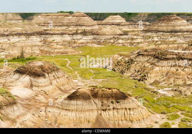 Horseshoe Canyon, in the Alberta badlands, near Drumheller, Alberta, Canada - Stock Image
