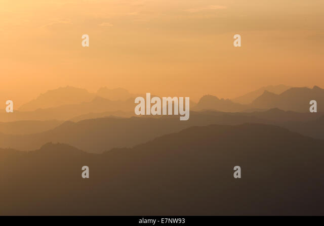 Alps, rising, view, view from Pilatus, mountain, mountain panorama, mountains, mist, background, morning, panorama, - Stock Image