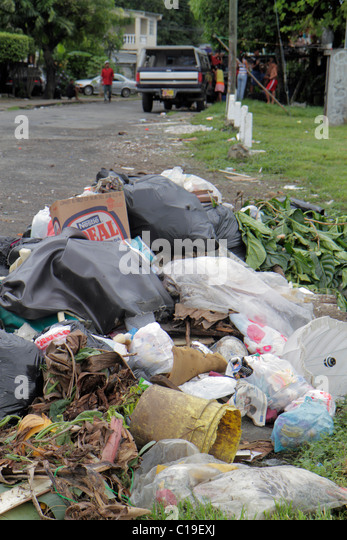 Panama City Panama Panama Viejo street scene trash garbage dumping pollution plastic bags - Stock Image