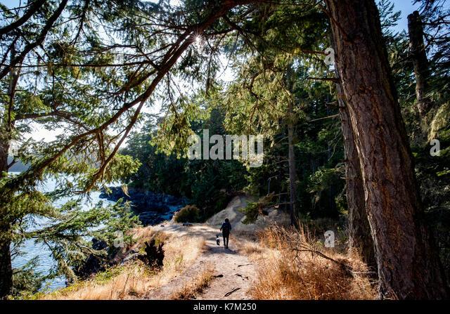 Hiker on Creyke Point Trail - East Sooke Regional Park, Sooke, Vancouver Island, British Columbia, Canada - Stock Image