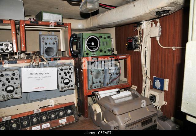 Interior of the Israeli Navy Missile boat INS Mivtach Communication room - Stock Image