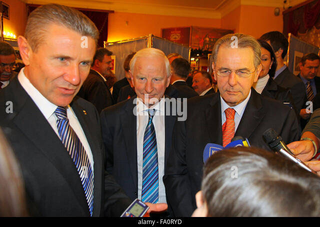 KYIV, UKRAINE - DECEMBER 17, 2010: President of National Olympic Committee of Ukraine Serhiy Bubka (L), President - Stock Image
