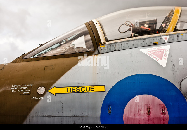 Jet plane cockpit, side view - Stock Image