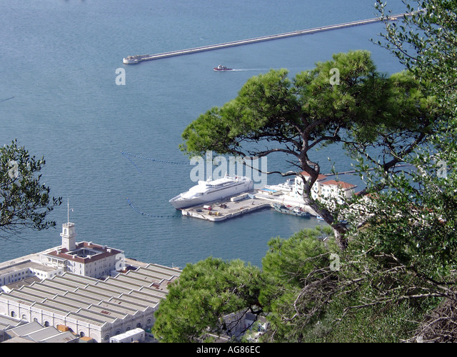 Gibraltar Marina and Harbour Viewed from Upper Rock Nature Reserve  Marina harbour boats ships shipping tankers - Stock Image