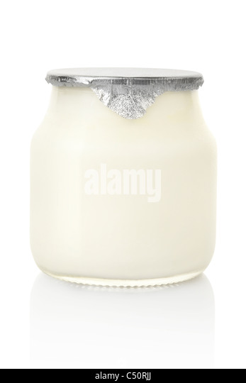 Yogurt jar - Stock Image