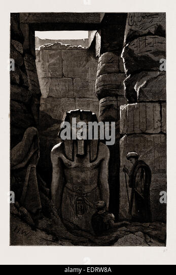 ANTIQUARIAN EXCAVATIONS IN EGYPT, 1886: ANOTHER RECENTLY DISCOVERED STATUE OF RAMSES II. AT LUXOR - Stock-Bilder