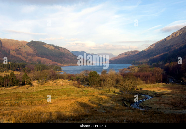 Lake Thirlmere reservoir from the Dunmail Rise road, Lake District National Park, Cumbria, England, United Kingdom, - Stock Image