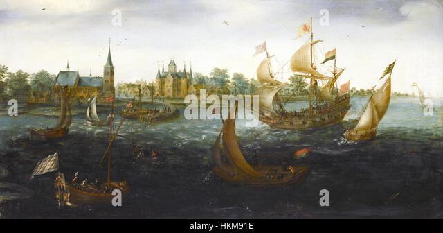 Aert Anthonisz. - Het schip 'De Eendraght' voor IJsselmonde, 1618 - Stock Image