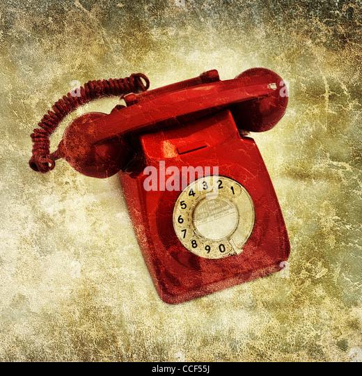 retro red telephone - Stock Image