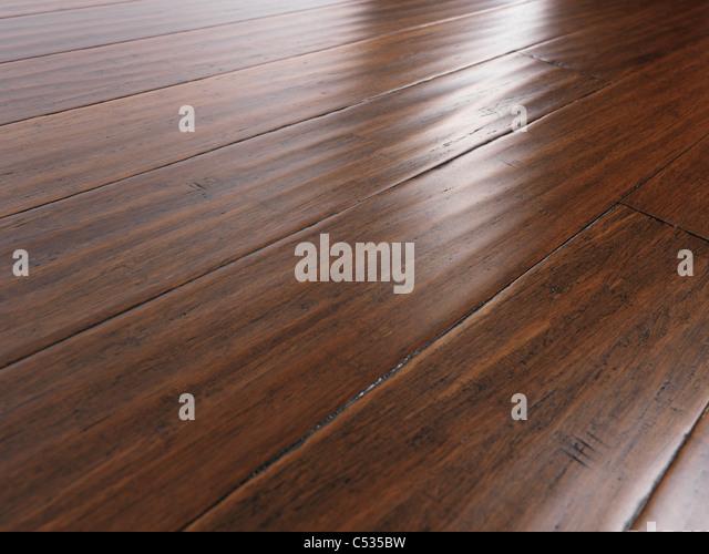 Antique wheat bamboo hardwood flooring - Stock Image