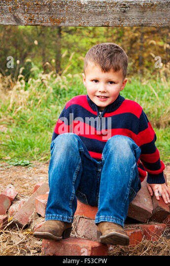 boy country portrait - Stock Image