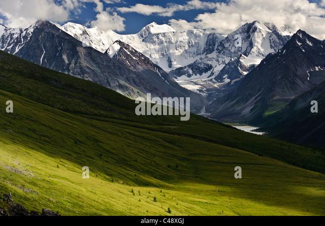 Mt. Belukha, Altai Republic, Russia, is the highest peak in Siberia. - Stock-Bilder