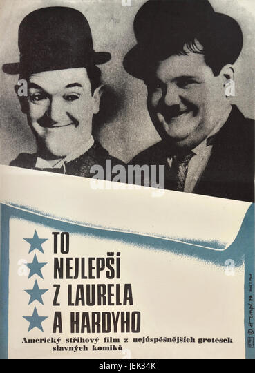 The Best of Laurel and Hardy. 1968. Original Czechoslovak movie poster from 1970s. The compilation of classic clips, - Stock Image