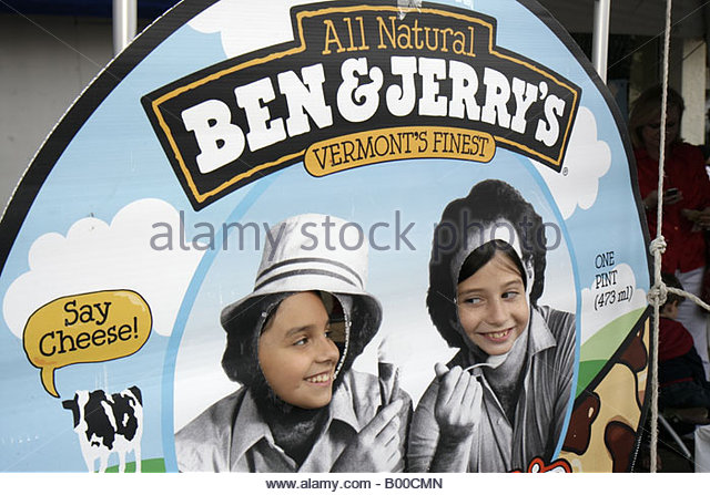 Coral Gables promotion marketing Ben and Jerry's Vermont ice cream girl face cut out photo opportunity - Stock Image