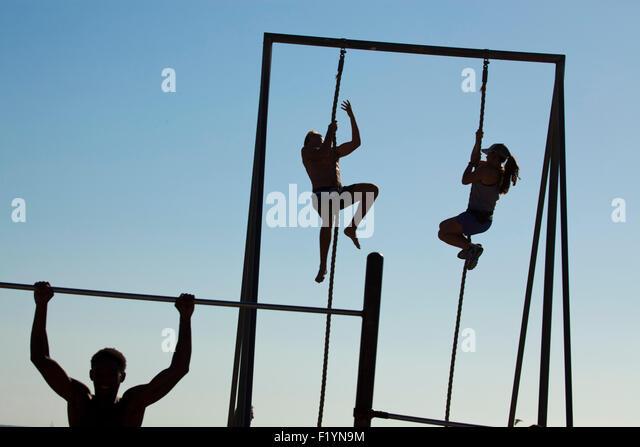 Gymnastics at the beach, Muscle Beach, Venice Beach, California, USA - Stock-Bilder