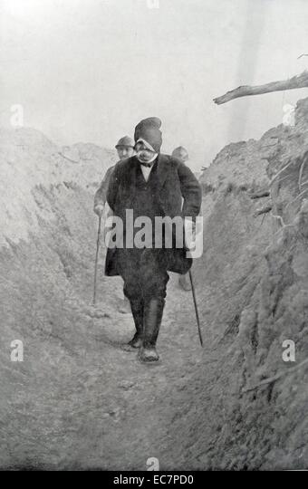 Georges Clemenceau (1841-1929), French physician, journalist and statesman visits French positions in world war - Stock Image