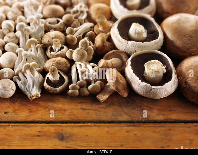 Fresh mixed whole mushrooms - Stock Image