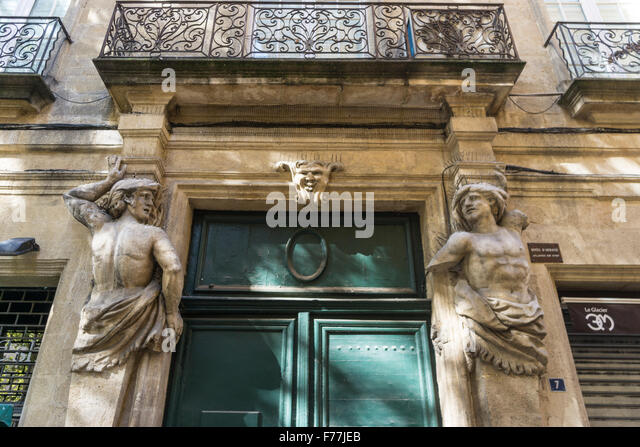 Atlas backside, Aix en Provence, Bouche du Rhone, France - Stock Image