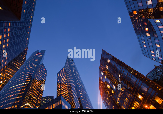 High rise office buildings in the La Defense area of Paris, France - Stock Image