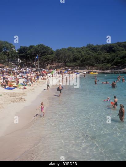 Scene in Cala Mondrago - Calo Fonts de n'Alis - Blue Flag beach - near Porto Petro / Cala D'Or, East Coast - Stock Image