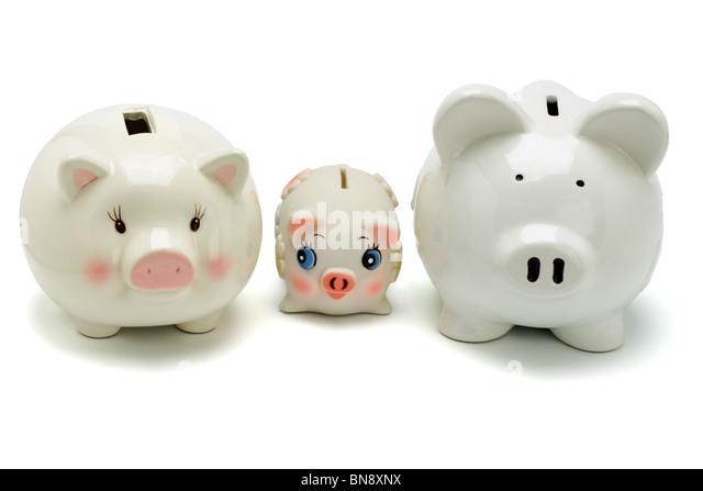 Family of piggy banks on white background - Stock-Bilder
