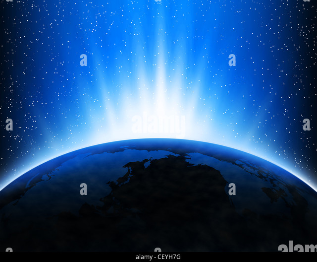 Illustration with Earth in space, light rays and stars - Stock Image