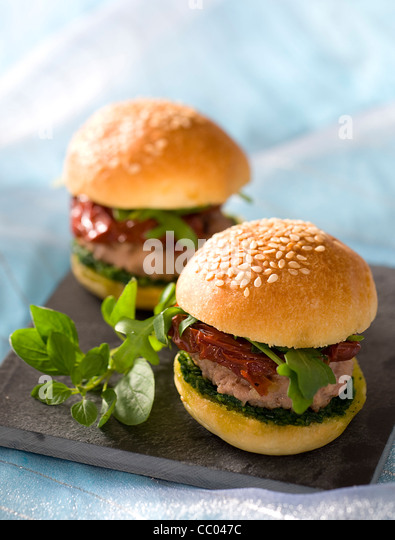 Italian Style Small Burgers - Stock Image