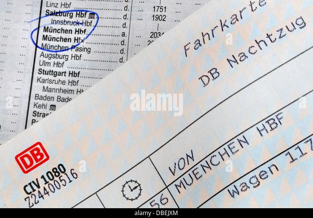 Rail Ticket and Timetable - Munich - Stock-Bilder