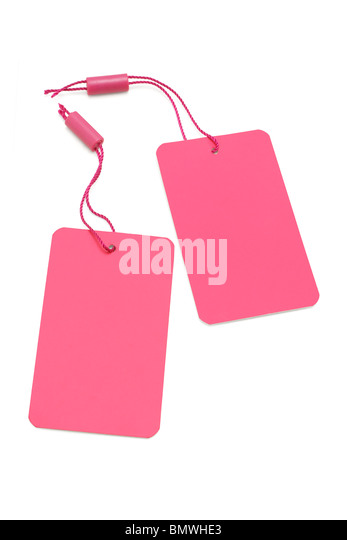 Pink paper price tag or label on white background - Stock Image