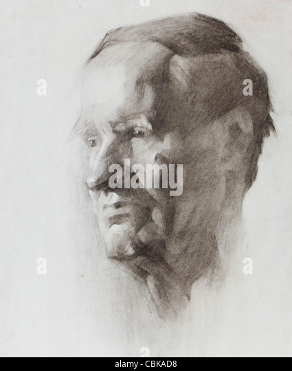 Graphic portrait of a old man painted by pencil - Stock Image
