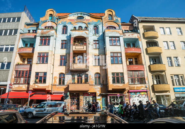 Painted house in Kreuzberg , bicycle city tour,Schlesisches Tor, Berlin, Germany, Europe - Stock Image