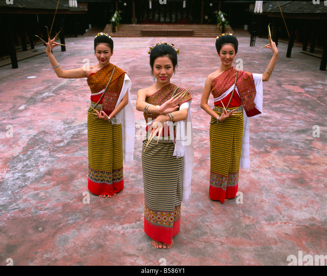 Portrait of three women in traditional Thai costume, Chiang Mai, Thailand, Southeast Asia, Asia - Stock Image