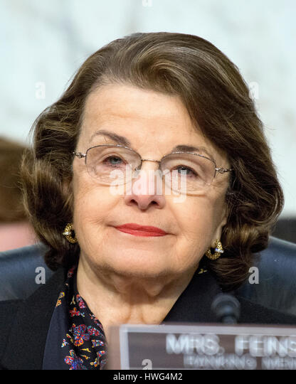 United States Senator Dianne Feinstein (Democrat of California) listens as Judge Neil Gorsuch testifies before the - Stock Image