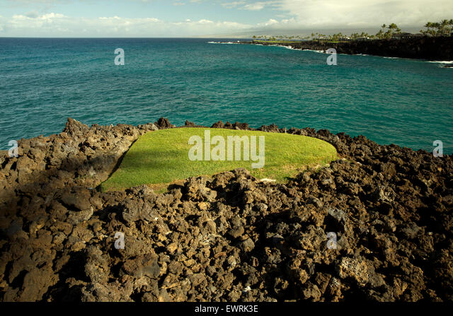 Small patch of lawn in lava rock. Hawaii, The Big Island. - Stock Image