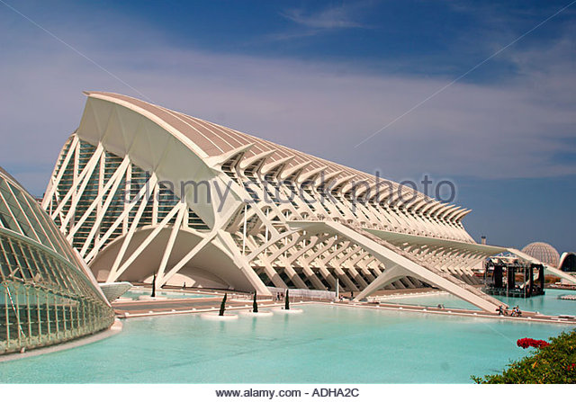 Spain Valencia City of sciences and arts by architect Santiago Calatrava - Stock Image