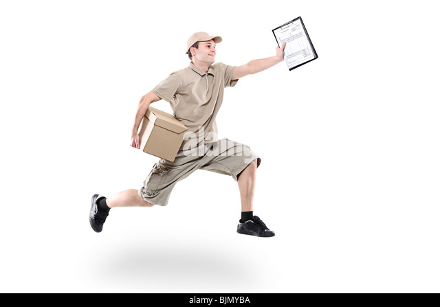 Postman on a hurry delivering package - Stock Image